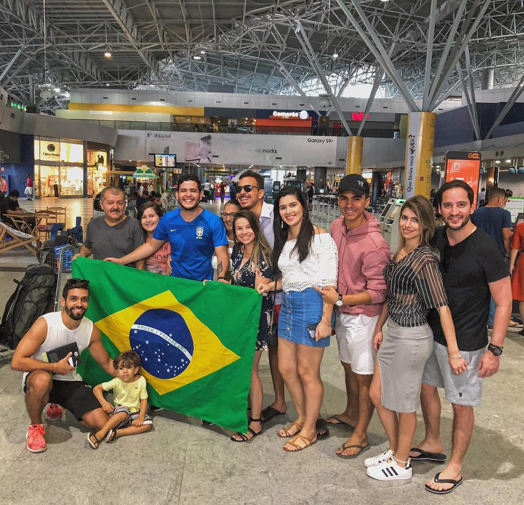 Anderson Dias from @196sonhos with his family and friends at the Recife International Airport in Brasil